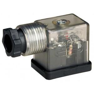 Conector à válvula solenóide DIN 43650B com LED - pequeno
