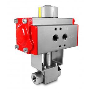 Válvula de esfera de alta pressão 1/4 de polegada SS304 HB22 com atuador pneumático AT40