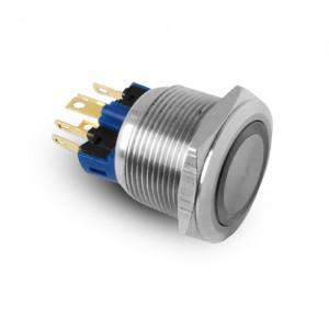 Botão 22mm IP65 em aço inoxidável LED 230V ou 24V azul momentâneo
