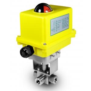 Válvula de esfera de alta pressão de 3 vias 1/2 polegada SS304 HB23 com atuador elétrico A250
