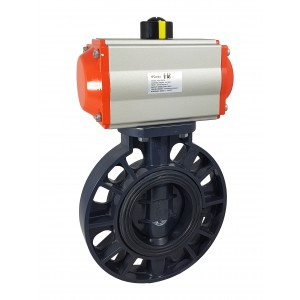 Válvula borboleta, acelerador DN300 UPVC com atuador pneumático AT160