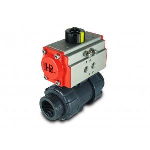 Válvula de esfera UPVC 1 1/4 de polegada DN32 com atuador pneumático AT40