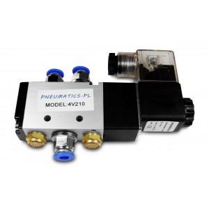 Válvula solenóide 5/2 4V210 1/4 de polegada para cilindros pneumáticos + conectores 8mm