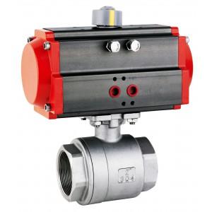 Válvula de esfera de aço inoxidável 1 1/4 de polegada DN32 com atuador pneumático AT63