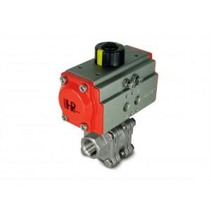 Válvula de esfera de alta pressão DN20 PN125 de 3/4 de polegada com atuador pneumático AT52