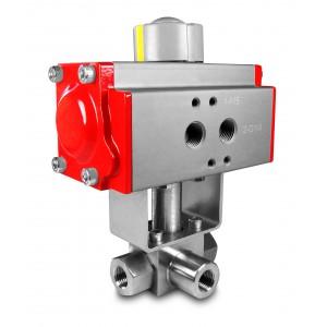 Válvula de esfera de alta pressão de 3 vias 1 polegada SS304 HB23 com atuador pneumático AT75