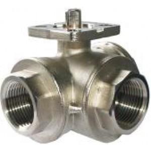 Válvula de esfera de 3 vias Placa de montagem DN25 de 1 polegada ISO5211 industrial