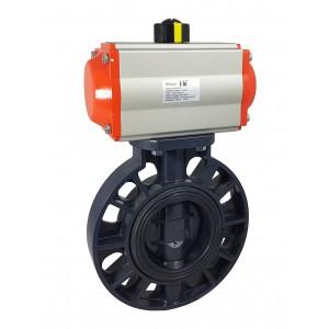 Válvula borboleta, acelerador DN65 UPVC com atuador pneumático AT75