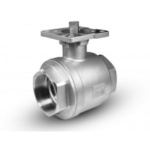 Válvula de esfera de aço inoxidável DN25 placa de montagem ISO5211 de 1 polegada