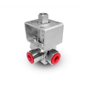 Válvula de esfera de alta pressão de 3 vias 1/4 de polegada SS304 HB23 placa de montagem ISO5211