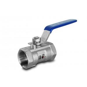 Válvula de esfera em aço inoxidável 3/8 pol. DN10 com alavanca manual - 1 peça
